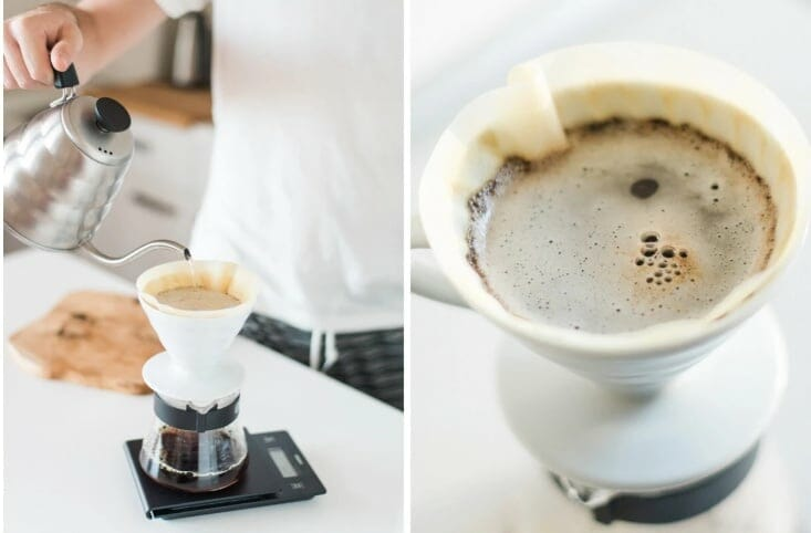 pour over coffee showing